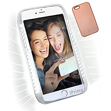 iPhone 6 PLUS Size.New LED Soft Lighted Selfie Phone Case - by iPrimo. Great for a Selfie and Facetime, Dimmable. (Rose Gold)