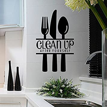 Amazoncom DNVEN W X H Fork Knife Spoon Clean Up After - Wall stickers for dining roomdining room wall decals wall decal knife spoon fork wall decal
