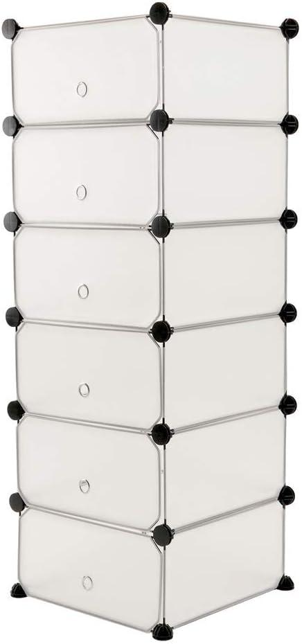 PrimeMatik - Armario Organizador Modular Estanterías de 6 Cubos de 17x35cm plástico Blanco con Puertas