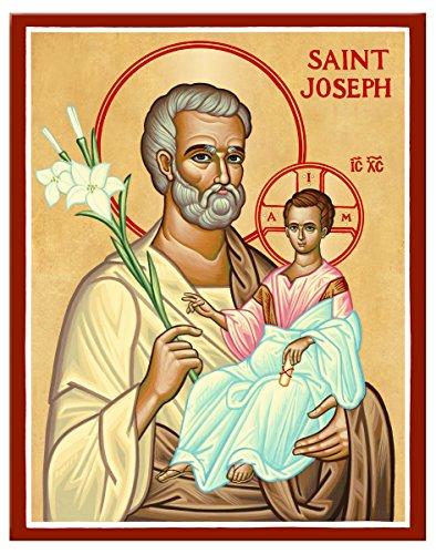 Monastery Icons Saint Joseph and Child Jesus Mounted Plaque Icon Reproduction 4.75