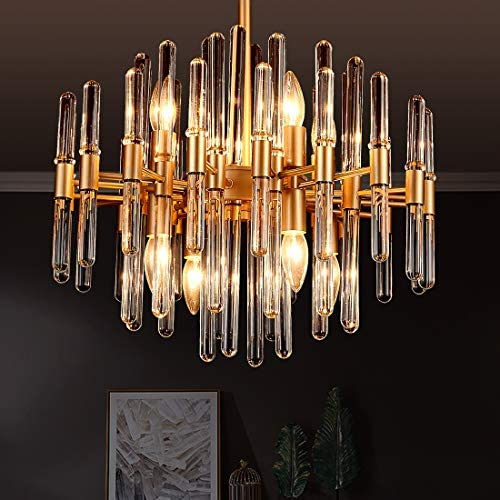 TZOE Modern Chandeliers Crystal Chandelier 8 Light Round Pendant Light Width 19 inch Brass Metal Clear Glass Adjustable Height UL Listed