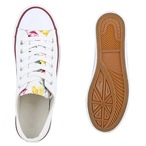 Denim Weiss Sportschuhe Sneakers Blumen Cabanas Damen Flandell Blumen Stoffschuhe Low Sneaker Camouflage wRIxxqBz