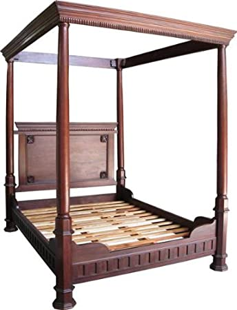 4 15,24 cm para cama de matrimonio en madera de caoba de Tudor Four Poster Bed de alta Head ballenas bajas: Amazon.es: Hogar