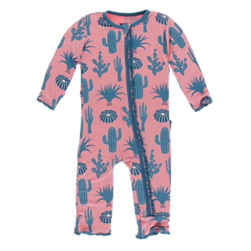 Kickee Pants Print Muffin Ruffle Coverall with Zipper (Strawberry Cactus - 6-9 Months)