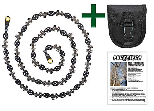 Pocketech Back-to-Basics Kit: 48 Inch-High Limb Hand Chain Saw & Pouch - Blades on Both Sides so it Doesn't Matter How It Lands - Upgraded with 50% More Blades Cut in Both Directions & on Both Sides (Renewed)