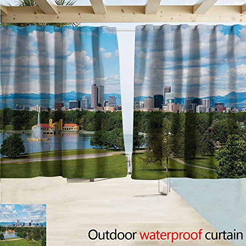 AndyTours Outdoor Patio Curtains,Urban City Park at Denver Colorado Downtown Tree and Architecture Sunny Panorama,Outdoor Privacy Porch Curtains,W63x72L Inches,Sky Blue Fern Green (Best Privacy Trees Colorado)