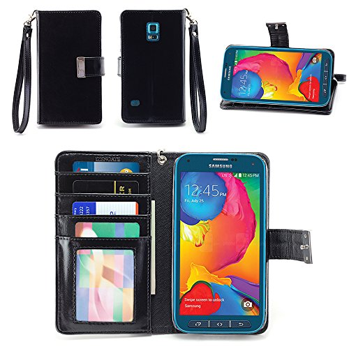 IZENGATE Samsung Galaxy S5 SPORT (SM-G860P) Wallet Case - Executive Premium PU Leather Flip Cover Folio with Stand (Black)
