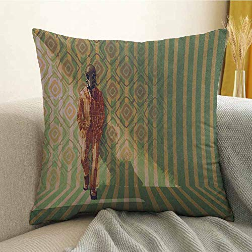 Fantasy Microfiber Myserious Fashion Man with Gas Mask Fancy Suit Before Retro Wall Kitsch Artwork Sofa Cushion Cover Bedroom car Decoration W16 x L16 Inch Orange Green]()