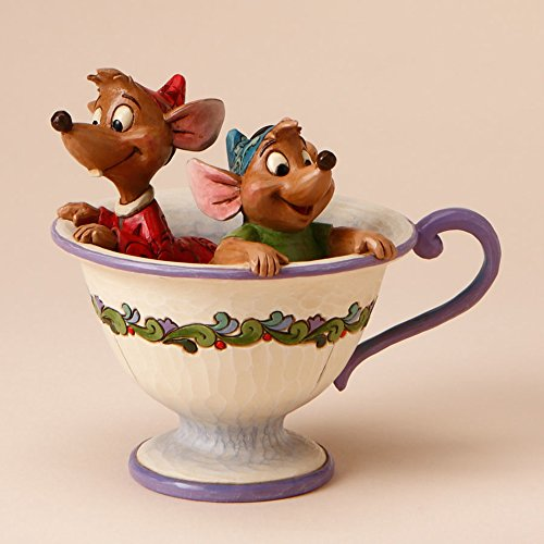 """Disney Traditions by Jim Shore """"Cinderella"""" Jaq and Gus Teacup Stone Resin Figurine, 4.25"""" ()"""