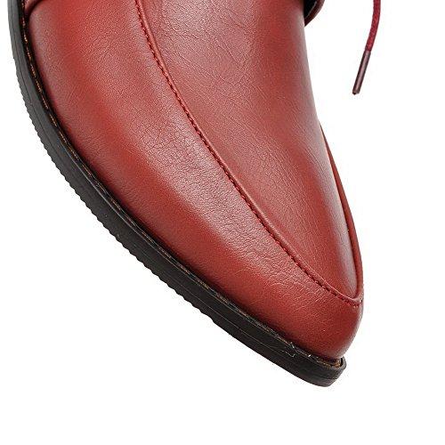 Balamasa Ladies Bandage Square Heels Con Punta En Punta Zapatos De Uretano En Rojo