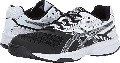 Kids Volleyball Shoes - ASICS Women's Upcourt 2 Volleyball-Shoes, Black/Silver/White, 9 Medium US