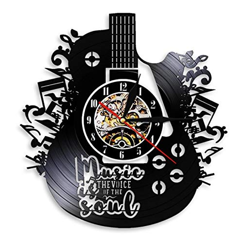 SODIAL Wall-Clock Modern Art Vinyl Record Guitar Note Hanging Watch Living Room Decor Bedroom Music Room