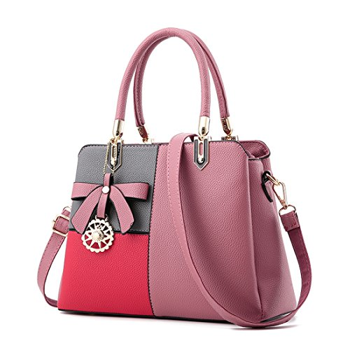 Pink Handbags for Women Designer Tote Purses Leather Top hangdle Bags Shoulder Cross Body Bag by HUI RU