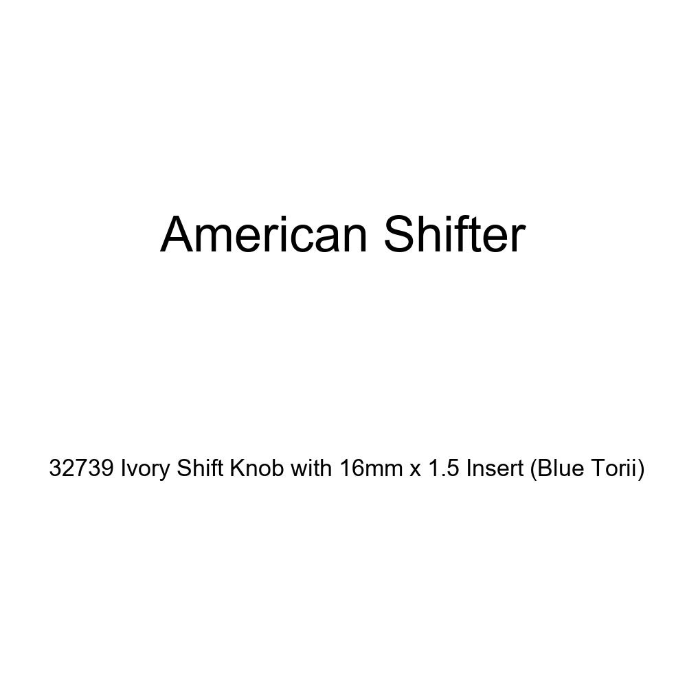American Shifter 32739 Ivory Shift Knob with 16mm x 1.5 Insert Blue Torii