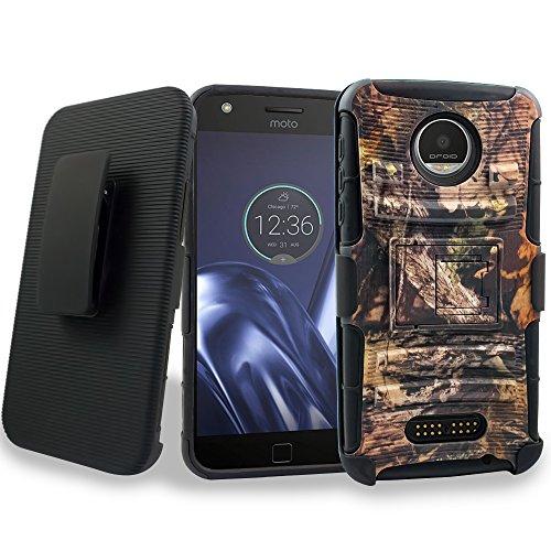 Moto Z Play Case, Customerfirst, Rugged Impact Armor Hybrid Kickstand Cover with Belt Clip Holster Case for Motorola Moto Z Play Droid (2016-Verizon) + Goodie (Reg Camo)