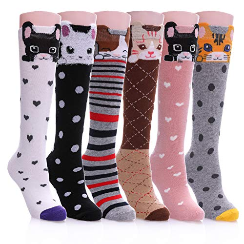 (Color City Girls Socks Knee High Stockings Cartoon Animal Warm Cotton Socks 6 Pairs Cat)