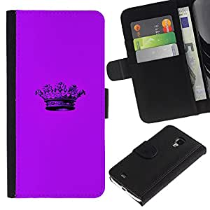 Billetera de Cuero Caso del tirón Titular de la tarjeta Carcasa Funda del zurriago para Samsung Galaxy S4 Mini i9190 MINI VERSION! / Business Style Crown Purple Minimalist Pen