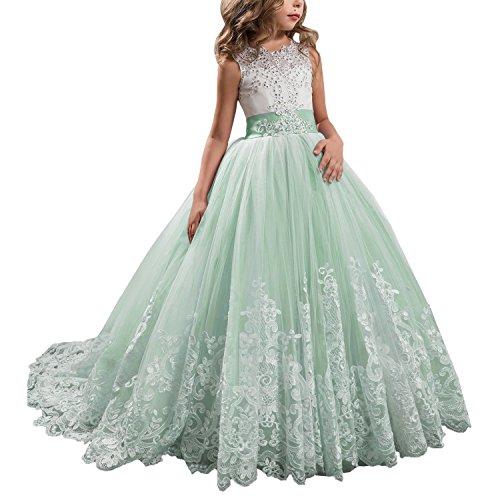 Green Fairy Makeup - KSDN Wedding Flower Girls Dresses Princess Gowns First Communion Pageant Gown(US 4 Light Green)