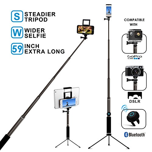 Bluetooth Selfie Stick with Tripod, Remote 59Inch MFW Extendable Monopod with Tripod Stand for iPhone X/8/7/6/Plus,Tablet,Samsung S7/S8,Android,GoPro Cameras by MFW