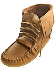 Laurentian Chief Womens Fringed Moccasin Shoes Lace Up Ankle Boots