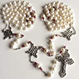 elegantmedical Handmade AAA 8-9MM Real Pearl Pearls Necklace Cross Lasso Wedding Rosary
