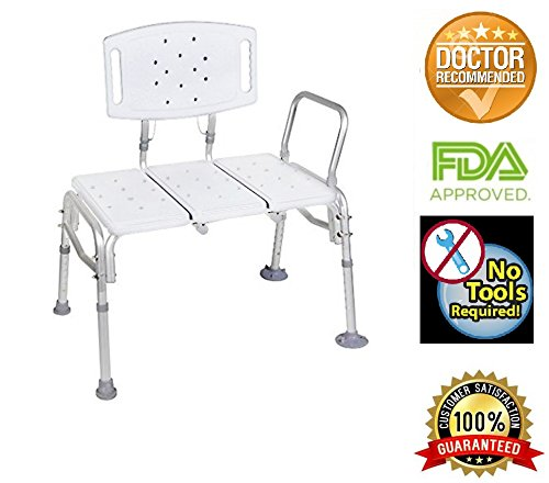 HEALTHLINE Tub Transfer Bench, Lightweight Medical Bath and Shower Chair with Back Non-Slip Seat,Heavy Duty Bariatric 500 Lb Bathtub Transfer Bench for Elderly and Disabled, Adjustable Height, White by HEALTHLINE