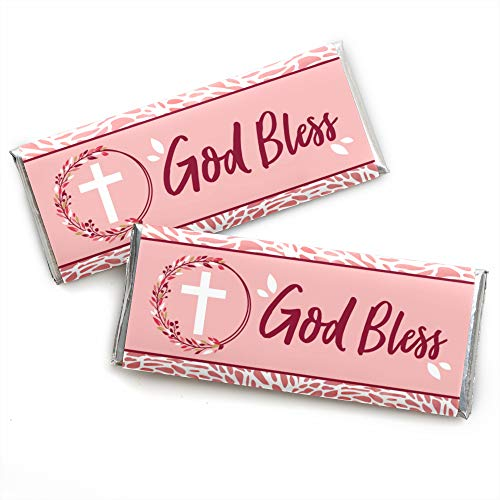 - Pink Elegant Cross - Candy Bar Wrapper Girl Religious Party Favors - Set of 24