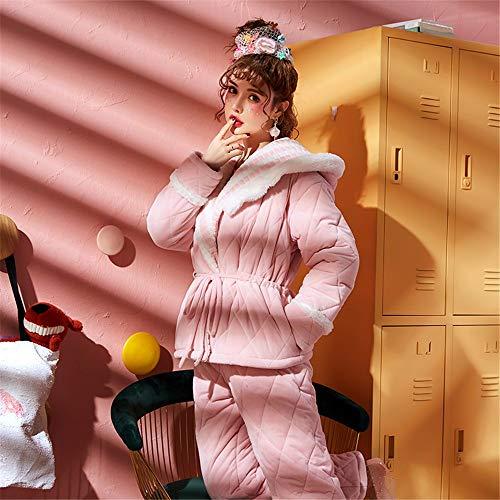 E Pijamas Informal Otoño Invierno Traje Mujer Xxl Cálido Servicio Coral A Capucha Domicilio Con Terciopelo Grueso Acolchado Baijuxing SgqC00w