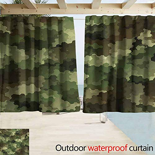 Darkening Curtains,Camo Frosted Glass Effect Hexagonal Abstract Being Invisible Woodland Print,Rod Pocket Curtain Panels,W55x63L Inches,Green Pale Green and Brown