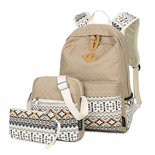 Tomato eggs Canvas Backpack School Bags Set for Teens Girls, Casual Daypack + Shoulder Bag + Pencil Case - khaki