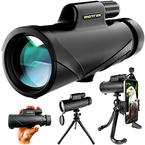 Monocular Telescope- 8x42 High Power HD with Smartphone Holder  Flexible Tripod- Waterproof FMC BAK4 Prism for Bird Watching, Camping, Hiking, Hunting- Adults  Kids- MOTREK