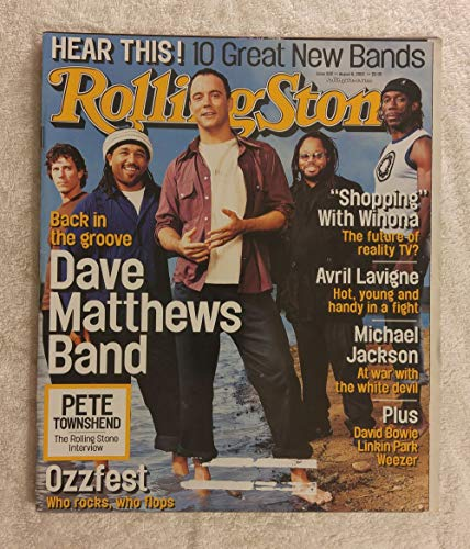 Dave Matthews Band - Rolling Stone Magazine - #902 - August 8, 2002 - Pete Townshend Interview, Ozzfest, Winona Ryder, Avril Lavigne, Michael Jackson articles