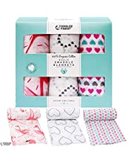 ToddlerFinest Muslin Baby Swaddle Blankets - 3 Pack Large 47X47 Inch - 100% Organic Cotton Swaddles - Soft Breathable Comfortable Durable - Nursery Shower Gift Set Unisex Neutral