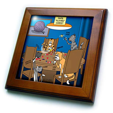 s Funny Out to Lunch Cartoons - Cats Playing Cards - Cats Would Really Never be so Focused - 8x8 Framed Tile (ft_305992_1) ()