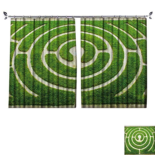 (NineHuihome Environmental Protection Material Polyester Chartres Circular Labyrinth in a Garden for Living Room Window,Sun Insulation. W108 x L108)