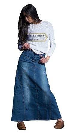 """a3a0006d00 ALSHARIFA 41"""" Long Denim Skirt - Womens Skirts - Modest Jeans - Style  NP-"""