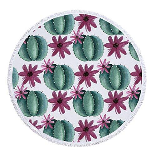Flamingo Plant Round Beach Towel with Tassels Microfiber Picnic Blanket Yoga Towel,C,Diameter 150cm (Kelowna Bath Bed Beyond And)