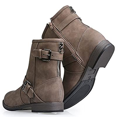 Twisted Women's AMIRA Short Buckle Strap Zip-Up Motorcycle Boot