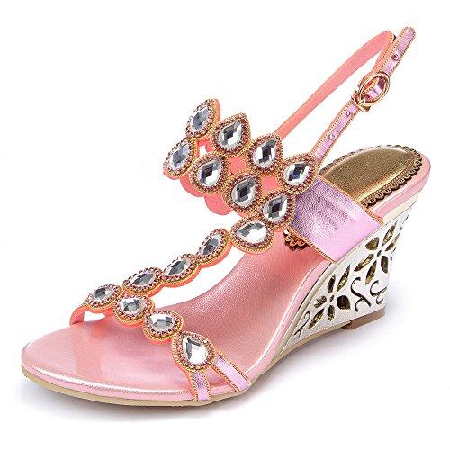 vibur-seven-womens-waterdrop-rhinestones-pink-sheepskin-wedges-sandals-95-bm-us