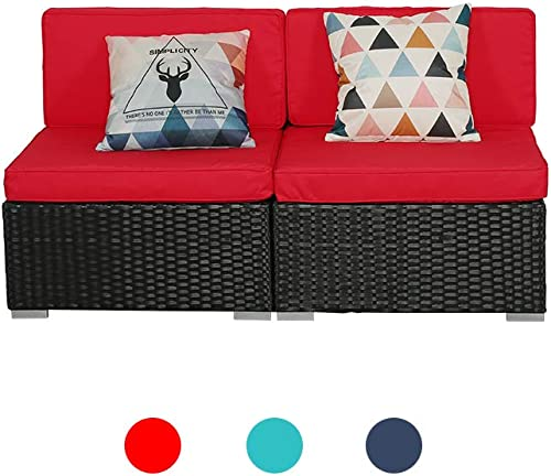 Outdoor Furniture LUCKWIND Patio Sectional Sofa Set MId Chair 2, Red