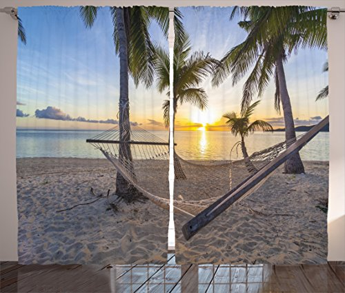 (Ambesonne Tropical Decor Curtains, Paradise Beach with Hammock and Coconut Palm Trees Horizon Coast Vacation Scenery, Living Room Bedroom Window Drapes 2 Panel Set, 108 W X 63 L Inches, Multi )