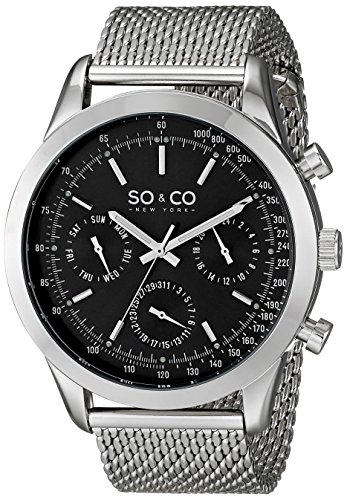 SO&CO New York Men's 5006.1 Monticello Quartz Day and Date Tachymeter Stainless Steel Mesh (Date Tachymeter)