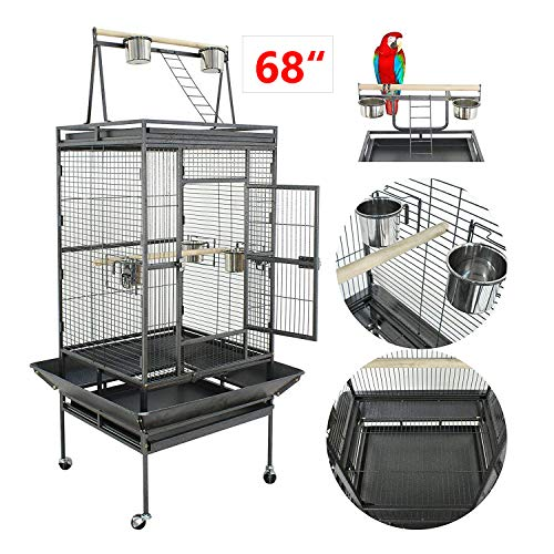 "Nova Microdermabrasion 53""/61/68 Large Bird Cage Play Top Parrot Cockatiel Parakeet Chinchilla Macaw Cockatoo Cage W/Stand Perch Pet Supplies (68)"