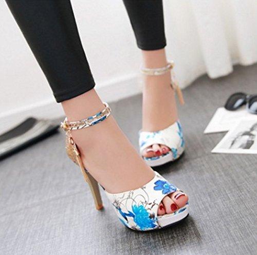 Sandals Shoes Black Toe PU Buckle Heel For Summer Party Wedding Synthetic Novelty amp; Peep Evening SHINIK Blue Stiletto Women's Fall Comfort Microfiber 5nOS5zR