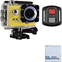 eCostConnection 4K Ultra HD 16MP WiFi Waterproof Sports Action Camera 2.0 (Yellow) with Anti-Shake DSP and Wrist RF Remote + eCostConnection Microfiber Cloth