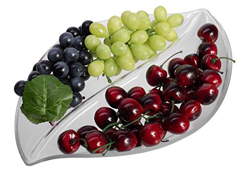- Unbreakable Leaf Serving Tray, Clear Plastic Party Appetizer Plate with 2 Compartment