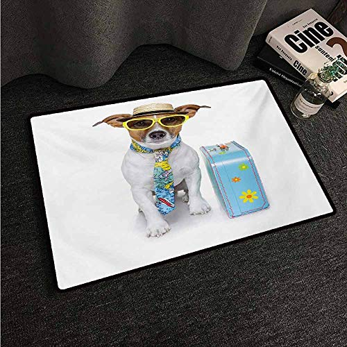 HCCJLCKS Front Door Mat Large Outdoor Indoor Dog Traveler Funny Dog Dressed as a Tourist with Hat Glasses Necktie and a Floral Suitcase All Season General W31 xL47 Multicolor