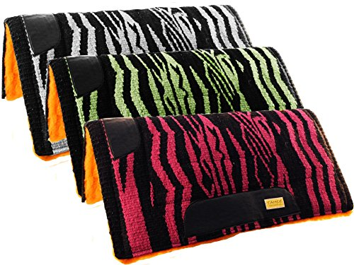 Tahoe Tack Wild Zebra Horse Saddle Pads with Wool Top & Fleece Padding (Lime)