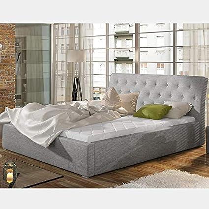 Cama con baúl 200 x 200 cm, gris MILAS: Amazon.es: Hogar
