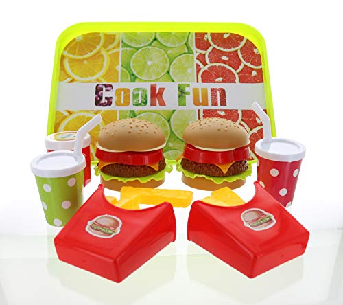 GiftExpress Double Cheeseburger - Hamburger Fast Food Pretend Play Set Cooking Play Toy for Kids with 2 Burger, 2 Fries, 2 Coke, Ketchup, and a Tray - Cheeseburger Kids Meal for 2